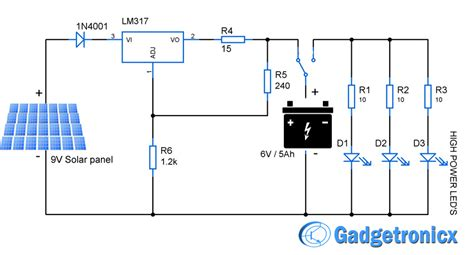 solar light schematic solar powered led light circuit electronics infoline