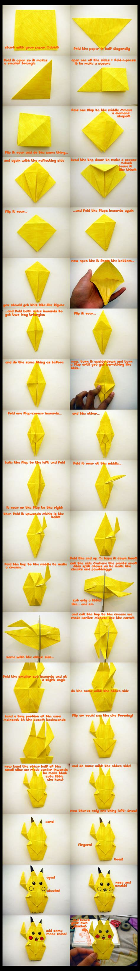 how to make an origami pikachu step by step how to make an origami pikachu by wesroz on deviantart