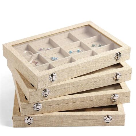 how to make ring holder for jewelry box 2017 large linen jewelry box earrings necklaces bracelets