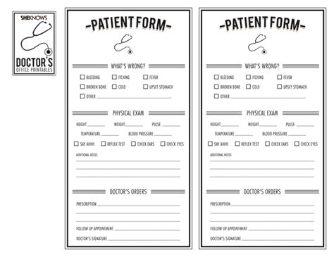 doctor s patient form free printable coloring pages