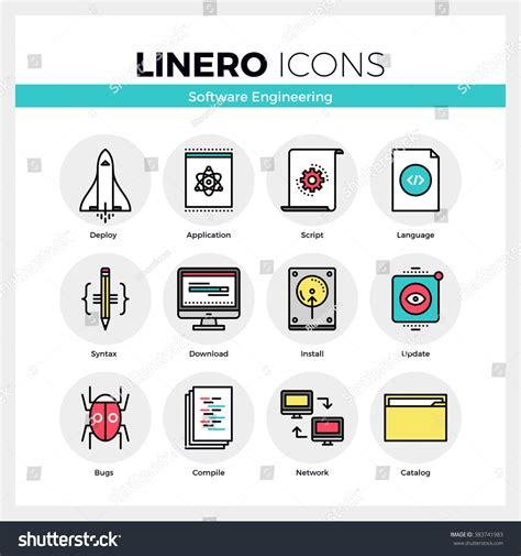 shutter design software line icons set software engineering tools stock vector