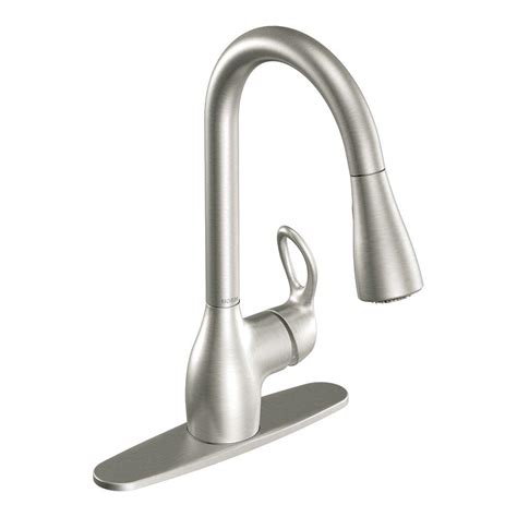 moen pull kitchen faucet moen kleo single handle pull sprayer kitchen faucet with reflex and power clean in spot