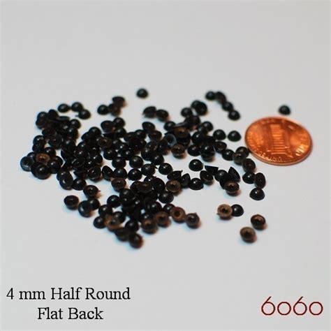 back bead 4mm plastic half flat back black 150 pc