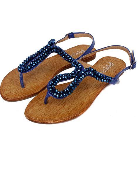 beaded sandals summer newest belt buckle beaded blue flat sandals