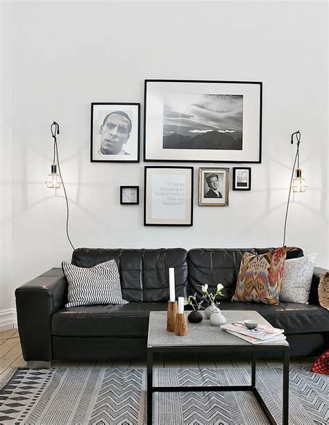 living room decor with black leather sofa best 25 black leather couches ideas on black