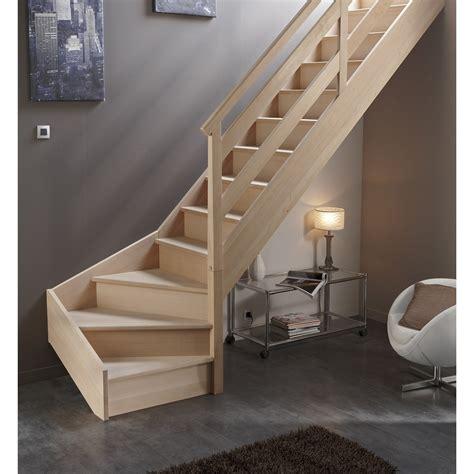escalier quart tournant bas droit soft wood structure bois marche bois leroy merlin