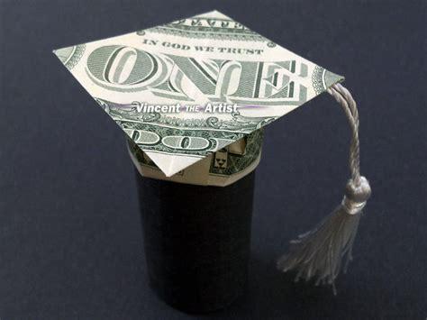 money hat origami money origami graduation cap mortar board dollar bill