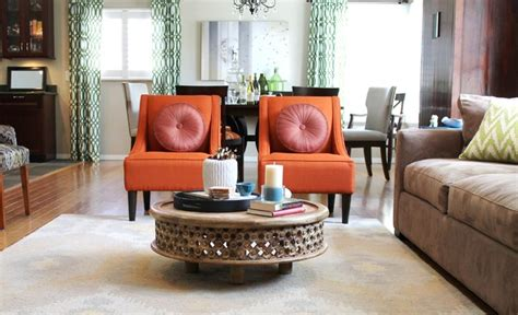 orange living room chair orange transitional chairs and rustic coffee table
