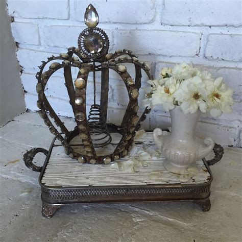 tree topper stand 12 quot iron metal aged crested crown vintage coloring