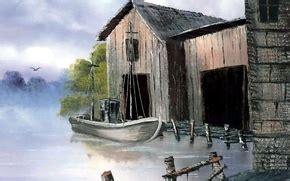 bob ross painting dock wallpaper painting bob ross dock picture boat