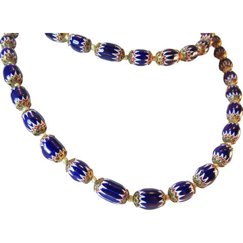 vintage glass bead necklace unique vintage blue glass beaded 33 quot necklace from ninas