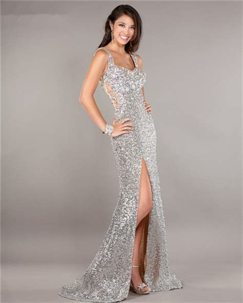beaded prom dresses illusion tulle back high slit silver sequin beaded prom