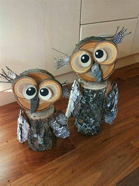 wood crafts ideas wood log owl decorations crafty morning