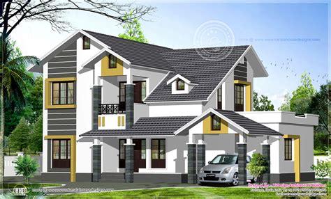 Designer Floor Plans sloping roof home exterior in 2474 sq feet house design