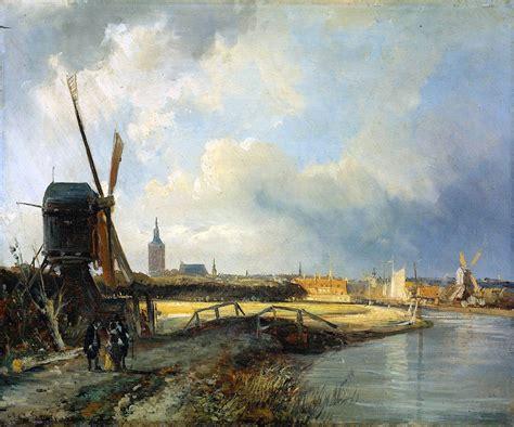 den painting study for view on den haag 1850 cornelis springer