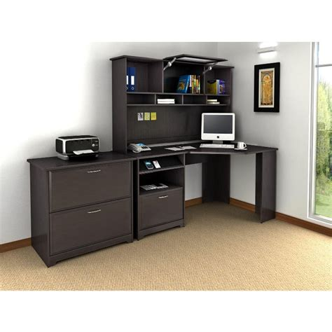 espresso desk with hutch cabot espresso oak corner desk with hutch and lateral file