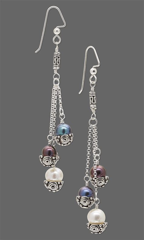 sterling silver bead earrings jewelry design earrings with cultured freshwater pearls