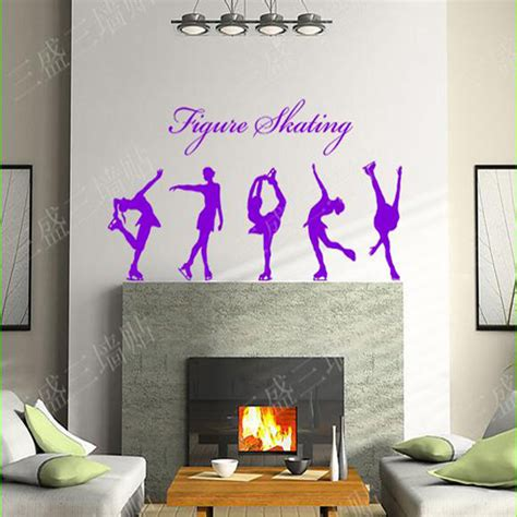 large wall stickers for living room figure skating wall stickers large wall decals for