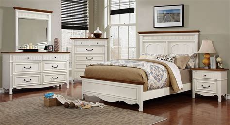 white and oak bedroom furniture galesburg white and oak bedroom set cm7040q furniture of