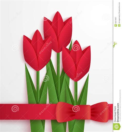 2d origami flower carte de papier de tulipes illustration de vecteur