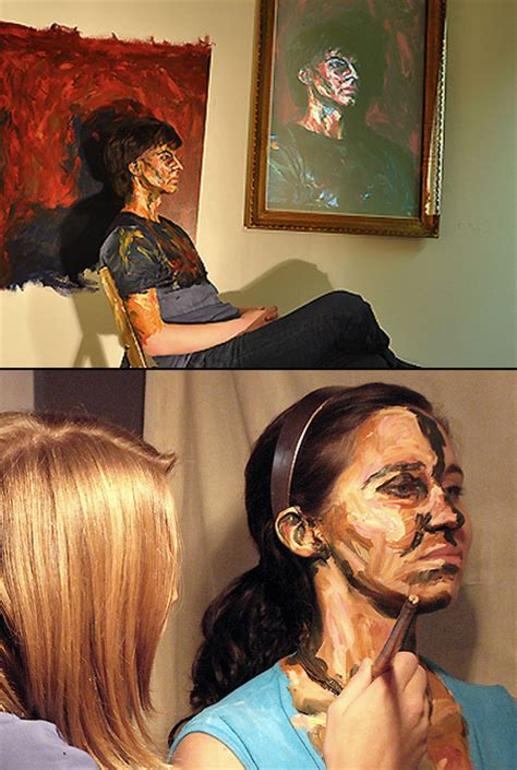 acrylic painting person real painted with acrylics to look like paintings