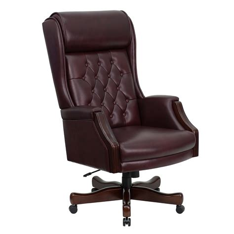 executive office chair leather flash high back traditional tufted burgundy leather