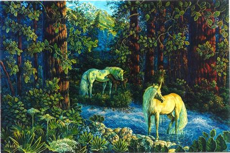 Woodland Wall Mural unicorn in forest computer wallpapers desktop backgrounds