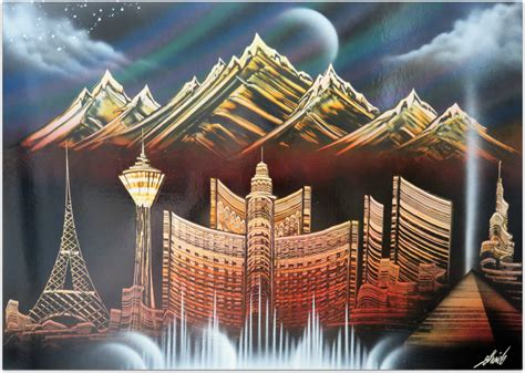 spray paint vegas vegas with mountains visual images