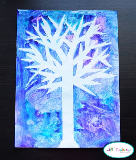 kid winter crafts winter tree craft munchkins and