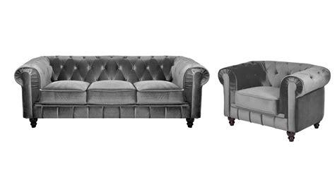 deco in ensemble canape 3 places 1 fauteuil chesterfield velours gris chest 3 1 velours gris