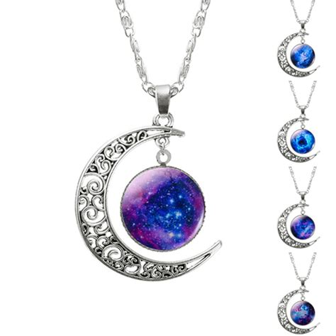 earring pendants jewelry fashion hollow moon glass galaxy statement necklace with