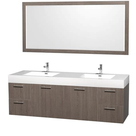 amare bathroom vanity wyndham collection amare 72 in vanity in grey oak with acrylic resin vanity top in white