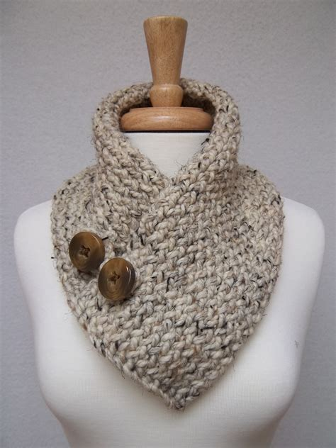 buttoned cowl knitting pattern cowl knitted oatmeal buttoned neck warmer scarflette scarf