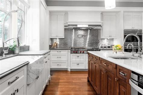 stainless tiles for backsplash white kitchen cabinets with stainless steel subway tile