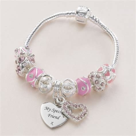charming bead shop charm bead bracelet with engraved charm in pink charming
