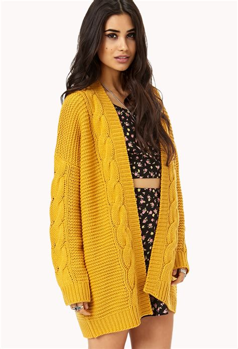 yellow knit cardigan forever 21 longline mixed knit cardigan in yellow lyst