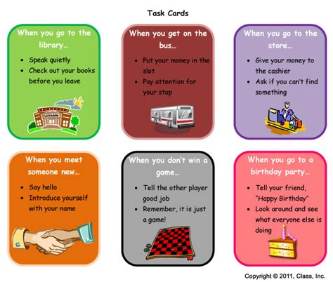 task cards visual supports from class inc communication language