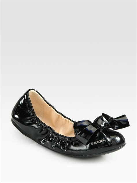 patent leather ballet flats prada patent leather puffer bow ballet flats in black lyst