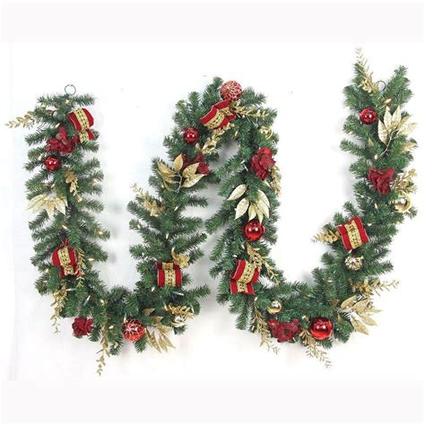 lit garland wreaths and garland at the home depot