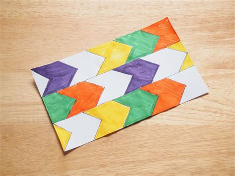 how to make a tessellation with an index card how to make a translation tessellation 8 steps with