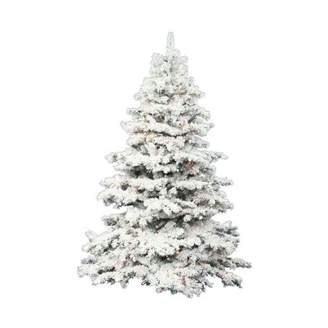 white flocked trees artificial shop vickerman 7 5 ft pre lit alaskan pine flocked