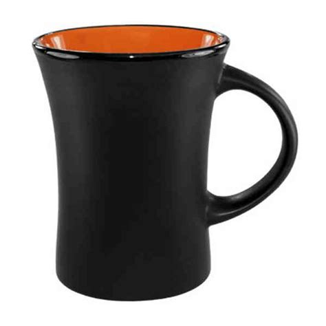 Hilo   10 oz matte black out orange inside Hilo ceramic coffee mug or cup.   Item #3570 2898