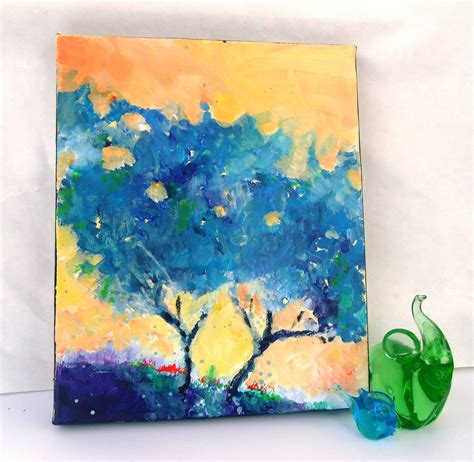 acrylic painting canvas abstract tree original acrylic painting on small canvas blue