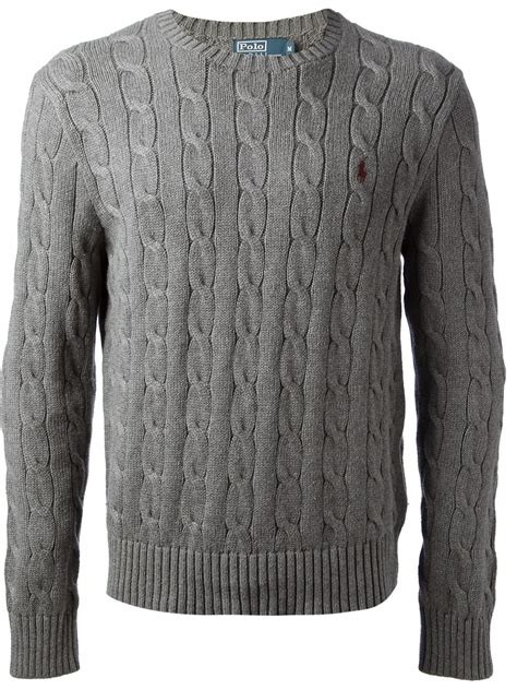 grey cable knit sweater polo ralph cable knit sweater in gray for lyst