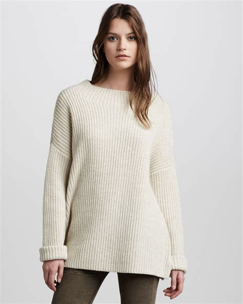 chunky knit sweaters vince chunky knit sweater in beige ivory lyst