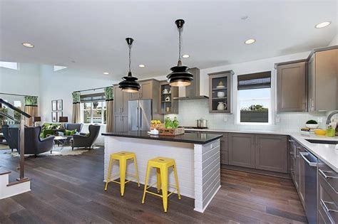 yellow and gray kitchen gray kitchen with yellow stools contemporary kitchen