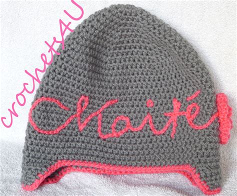 knitting letters into a hat crochet name on hat