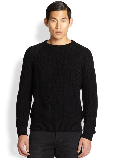 black knit sweater mcqueen skull cable knit sweater in black for