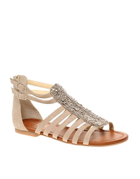 Aldo Aldo Wyatta Beaded Gladiator Sandals In Beige