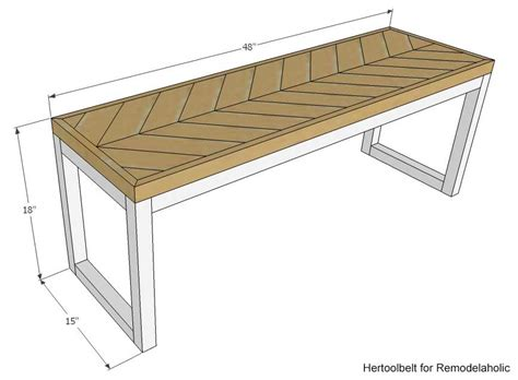 woodworking bench dimensions remodelaholic diy wood chevron bench with box frame